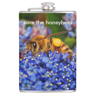 Save the Honeybees Pollinating California Lilac Hip Flask