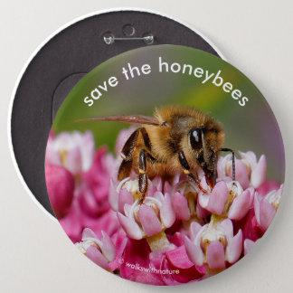 Save the Honeybees Pollinating Narrowleaf Milkweed 6 Inch Round Button