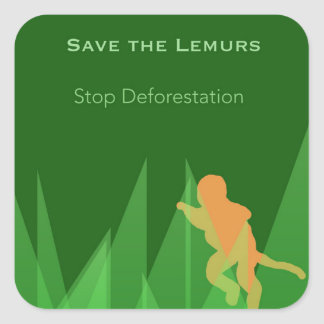 Save the Lemurs Square Sticker