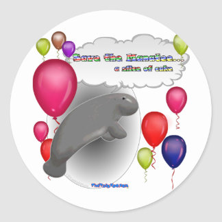 Save the Manatee.. a slice of cake Classic Round Sticker