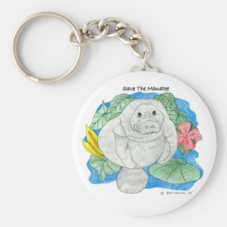 Save The Manatee Basic Round Button Keychain