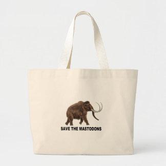 Save the mastodons large tote bag