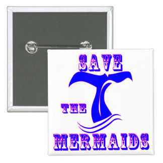 Save The Mermaids 2 Inch Square Button