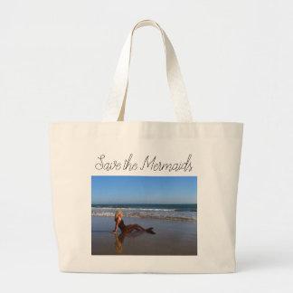 Save the Mermaids Large Tote Bag