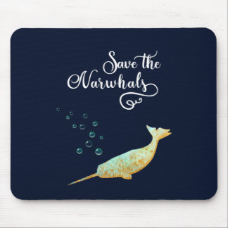 Save the Narwhals. Watercolor, Calligraphy Art Mouse Pad