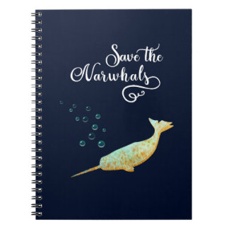 Save the Narwhals. Watercolor, Calligraphy Art Spiral Notebook