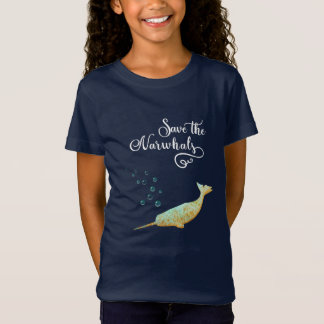 Save the Narwhals. Watercolor, Calligraphy Art T-Shirt