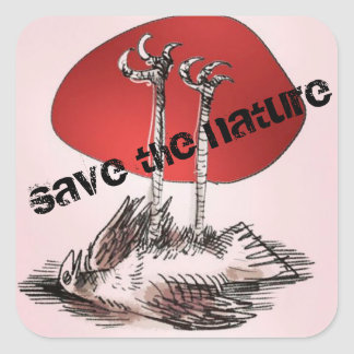 save the nature dead bird cartoon square sticker