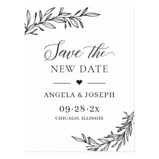 Save the New Date Change of Plan Wedding Postponed Postcard