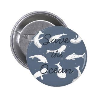 Save the Ocean White Seals 2 Inch Round Button