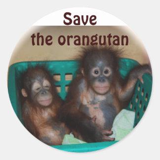 Save the Orangutan Round Sticker