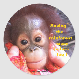 Save the Orangutans and Rainforest Classic Round Sticker