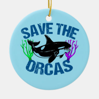 Save the Orcas Cute Ceramic Ornament