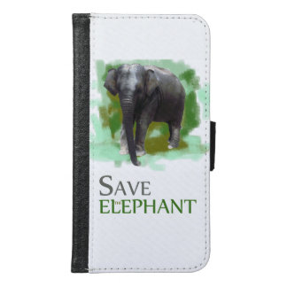 Save the Painted Green Cute Little Elephant Samsung Galaxy S6 Wallet Case