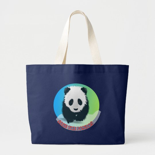 Save The Pandas. Panda Bear Large Tote Bag