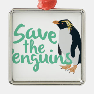Save the Penguins Silver-Colored Square Ornament