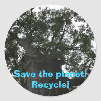Save the planet! Recycle! Round Stickers