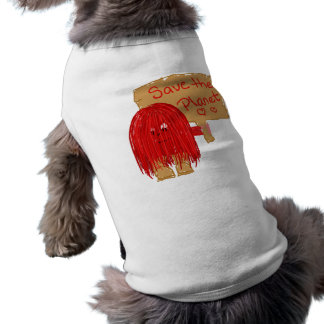 save the planet red doggie tee shirt