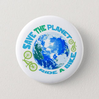 Save the Planet Ride a Bike 2 Inch Round Button