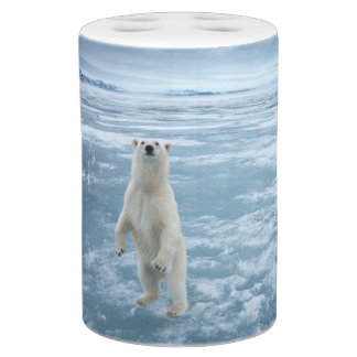 Save The Polar Bear Soap Dispenser And Toothbrush Holder
