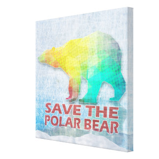 SAVE THE POLAR BEAR Wrapped Canvas Gallery Wrapped Canvas