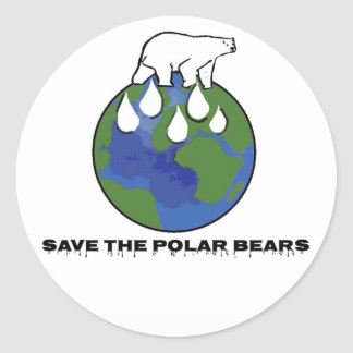 Save the Polar Bears Classic Round Sticker