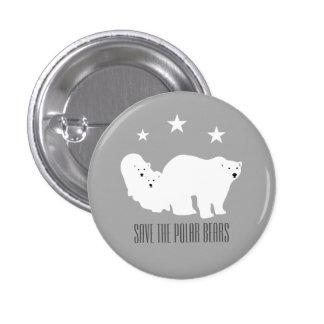 Save the Polar Bears Grey Small Badge by Anna Bush 1 Inch Round Button
