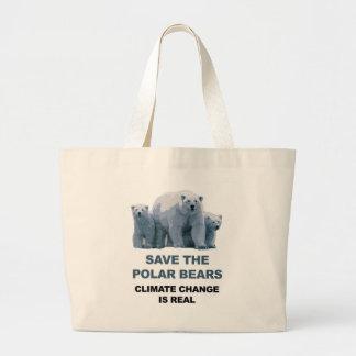 Save the Polar Bears Large Tote Bag