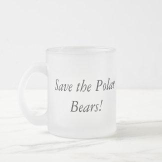 Save the polar bears mug! 10 oz frosted glass coffee mug