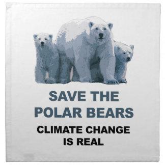 Save the Polar Bears Napkin