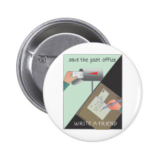 Save the Post Office/ Write a Friend 2 Inch Round Button