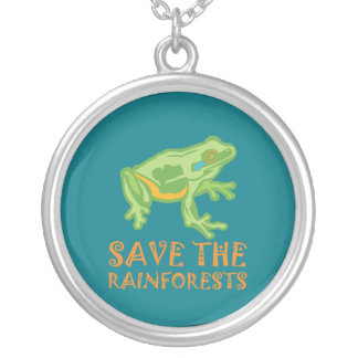 save-the-rainforests Tree Frog Silver Plated Necklace
