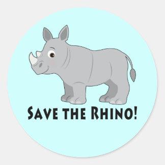 Save the Rhino! Classic Round Sticker
