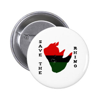 Save the Rhino w/ Africa Tear White 2 Inch Round Button