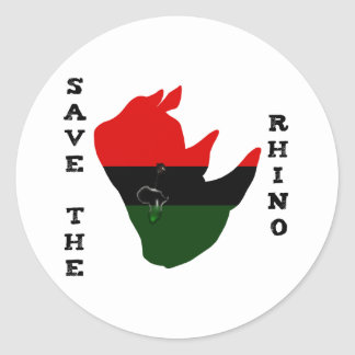 Save the Rhino w/ Africa Tear White Classic Round Sticker