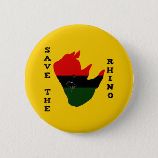 Save the Rhino w/ Africa Tear Yellow 2 Inch Round Button