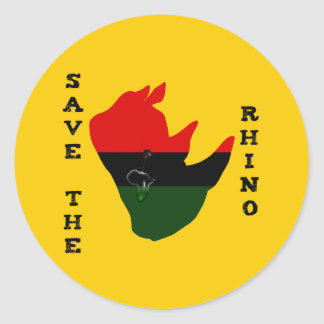 Save the Rhino w/ Africa Tear Yellow Classic Round Sticker