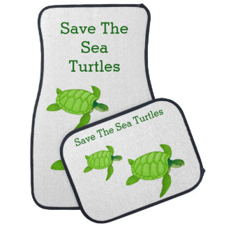 Save the Sea Turtle with 2 Green Turtles Car Liners