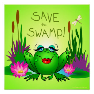 Save the Swamp Beulah the Frog Square Green Poster