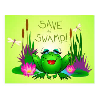 Save the Swamp Femme Fatale Frog Green Postcard
