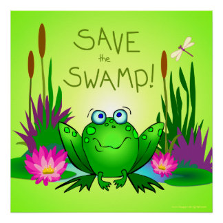Save the Swamp Twitchy the Frog Dragonflies Green Poster