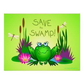 Save the Swamp Twitchy the Frog Green Poster