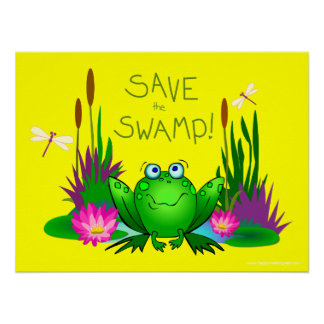 Save the Swamp Twitchy the Frog Yellow Poster