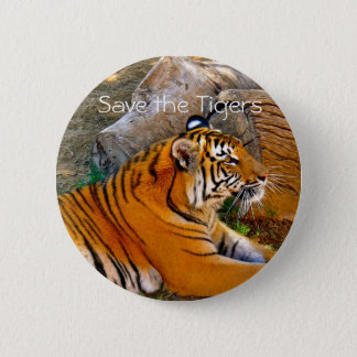 Save The Tigers Badge Button