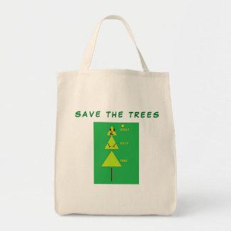 Save The Trees Custom Tote Bag with Christmas Tree