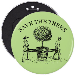Save the Trees Vintage Illustration Button