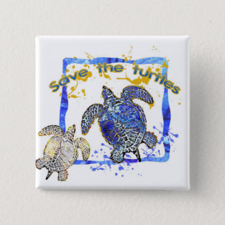 Save the turtles 2 inch square button