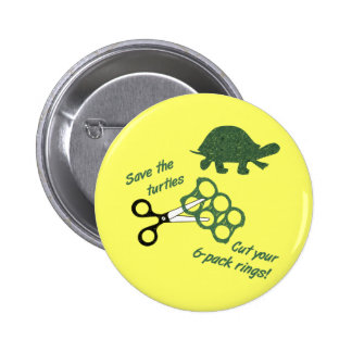 Save the Turtles Cut Six Pack Rings 2 Inch Round Button