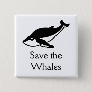 Save the Whales 2 Inch Square Button