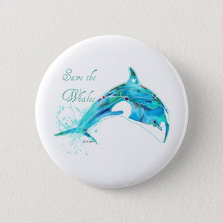 Save the Whales Blue 2 Inch Round Button
